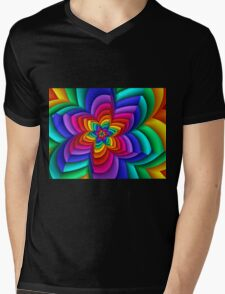 Geometric Rainbow Flower  Mens V-Neck T-Shirt