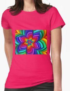 Geometric Rainbow Flower  Womens Fitted T-Shirt