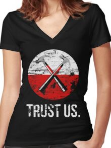 Pink Floyd TRUST US worn Women's Fitted V-Neck T-Shirt