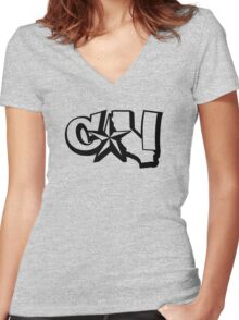 Cali  Women's Fitted V-Neck T-Shirt
