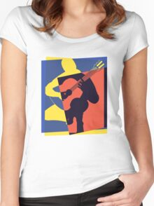 Pop Art Acoustic Guitar Player Women's Fitted Scoop T-Shirt
