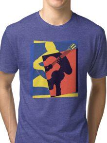 Pop Art Acoustic Guitar Player Tri-blend T-Shirt
