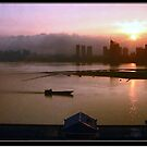 Sunset Over Looking The Gan River - Nanchang, China by Laurie Puglia