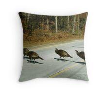 Turkeys crossing the Road Throw Pillow
