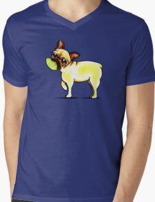 Sporty Frenchie Mens V-Neck T-Shirt