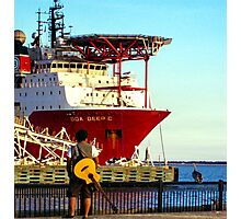 Musician at the Port Photographic Print