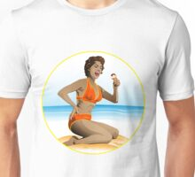 Summer pin-up with ice-cream Unisex T-Shirt