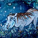 Blue Warthog In Alcohol Ink by Brenda Thour