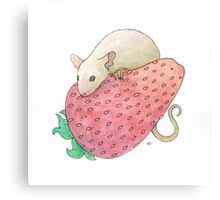 Mouse & Strawberry Canvas Print