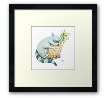 Raccoon & Pineapple Framed Print