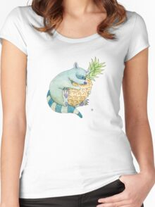 Raccoon & Pineapple Women's Fitted Scoop T-Shirt