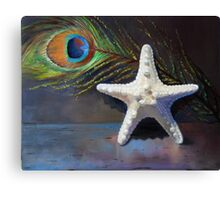 Starfish with peacock feather Canvas Print