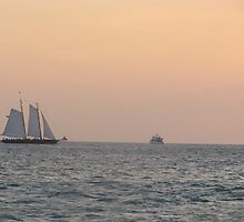 Key west Boat and Sunset by GleaPhotography
