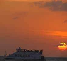 Key west sunset and boat 2 by GleaPhotography