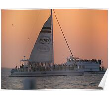 Sailboat at Sunset in key west Poster