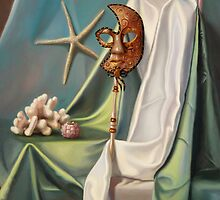 Corals and Venetian Mask by veronica  winters