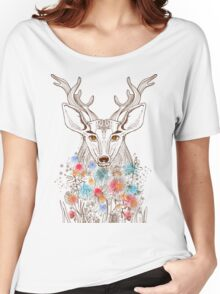 Deer and flowers Women's Relaxed Fit T-Shirt