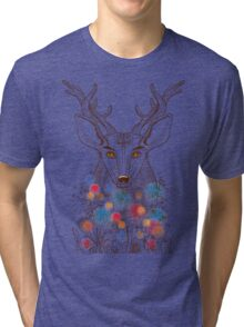 Deer and flowers Tri-blend T-Shirt