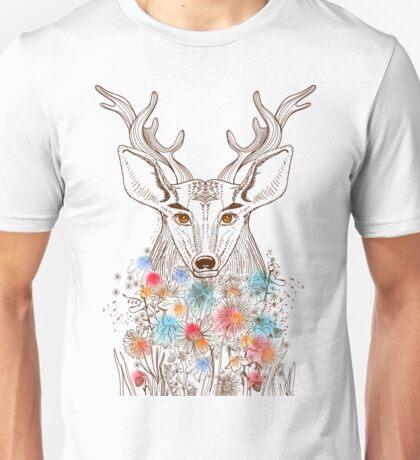 Deer and flowers Unisex T-Shirt