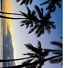 Waikiki Sunset and Palms by Randy  Le'Moine
