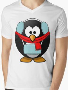 Freezin Penguin Mens V-Neck T-Shirt