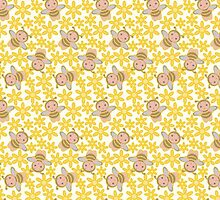 CARTOON PATTERN-BEES by Pattern-Color