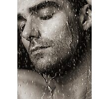 Sensual portrait of man face under pouring water Black and white art photo print Photographic Print