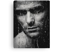 Dramatic portrait of man wet face Black and white art photo print Canvas Print