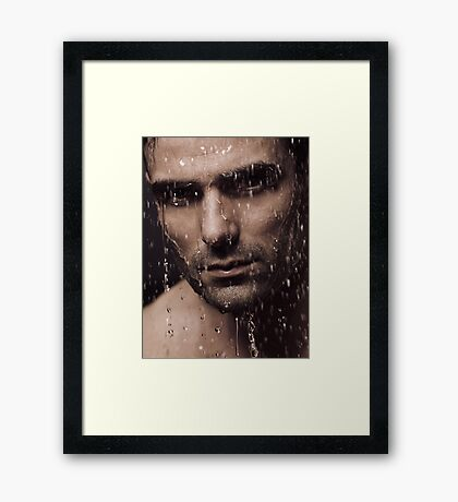 Dramatic portrait of man face with water pouring over it art photo print Framed Print