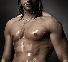 Portrait of man with wet bare torso standing under shower art photo print by ArtNudePhotos