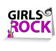 Girls Rock Guitar Piano Keys & Music Greeting Card