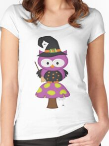 Witchy Owl  Women's Fitted Scoop T-Shirt