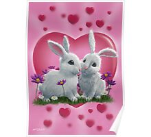 Romantic White Rabbits with Heart Poster