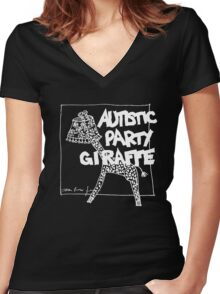 Autistic Party Giraffe - White Women's Fitted V-Neck T-Shirt