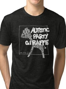 Autistic Party Giraffe - White Tri-blend T-Shirt