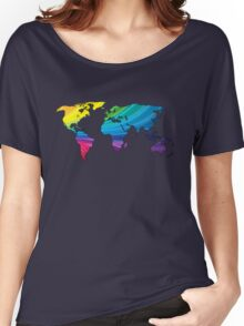world map, rainbow colors Women's Relaxed Fit T-Shirt