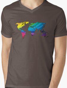 world map, rainbow colors Mens V-Neck T-Shirt
