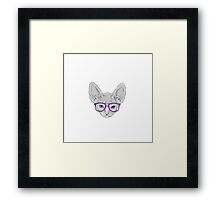 Geeky Nerdy Sphynx Cat with Taped Glasses Framed Print