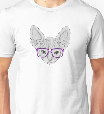 Geeky Nerdy Sphynx Cat with Taped Glasses Unisex T-Shirt