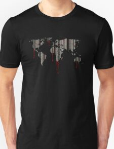 world map, barcode, blood dripping T-Shirt