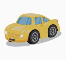 Yellow Sports Car Cartoon Kids Tee