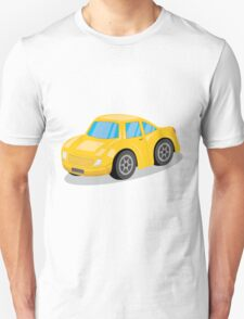 Yellow Sports Car Cartoon T-Shirt