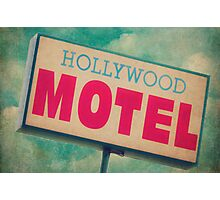 Hollywood Motel Sign Photographic Print