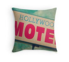 Hollywood Motel Sign Throw Pillow