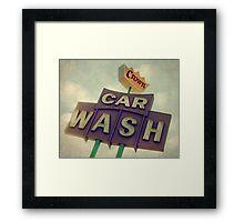 Crown Car Wash Neon  Framed Print