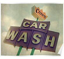 Crown Car Wash Neon  Poster