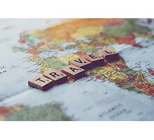 Travel - Scrabble Photograph Photographic Print