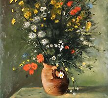 Flowers in a Vase - After Renoir by MIKE DEVANEY