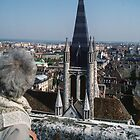 Marj looking at tower of Notre Dame Dijon France 198404300006 by Fred Mitchell