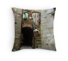 Stone Stairs and Flowers Throw Pillow